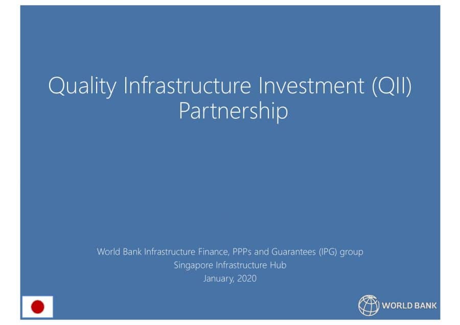 Quality Infrastructure Investment Patnership The World Bank