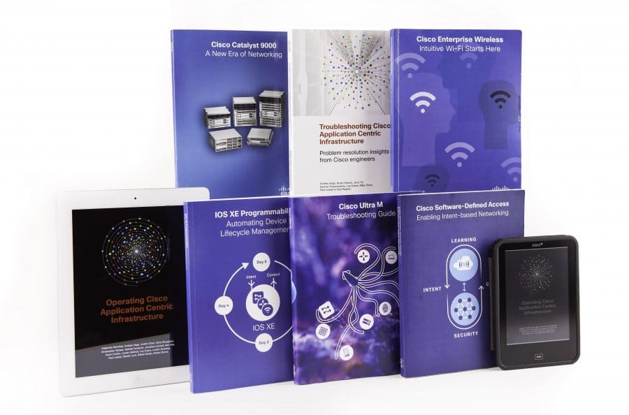 A selection of Cisco books written and produced in Book Sprints
