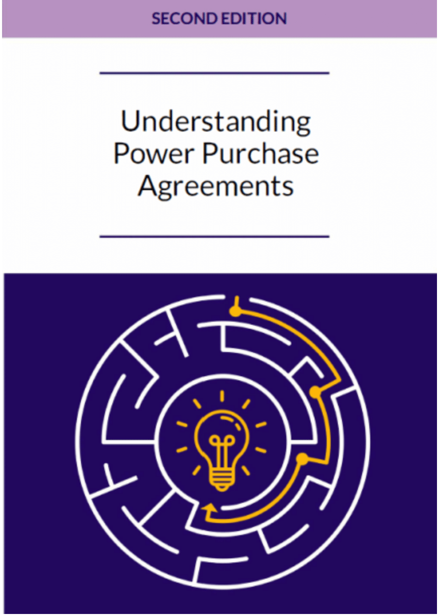 Book cover with the title Understanding Power Purchase Agreements, Second Edition, showing a purple labyrinth and a yellow light bulb in the middle