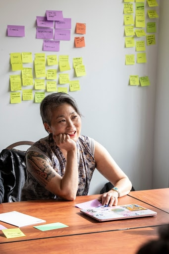 Prof. Lisa Nakamura sitting on a desk in front of a brainstorming wall during Precarity Lab Book Sprint with an attentive look